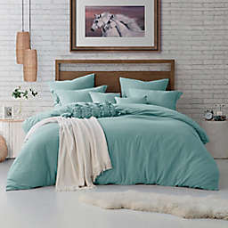Swift Home Crinkle Pre-Washed Microfiber 3-Piece Full/Queen Duvet Cover Set in Dusty Mint