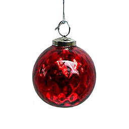 4-Inch Assorted Mercury Glass Christmas Ornaments in Red/Silver