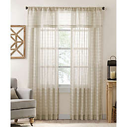 Colordrift Inez Stripe 95-Inch Rod Pocket/Back Tab Sheer Curtain Panel in Natural (Single)