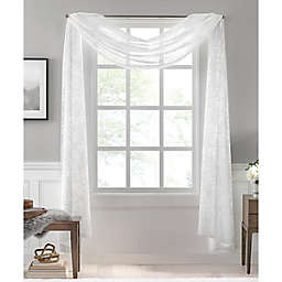 Colordrift Botanical Burnout Sheer Window Scarf Valance in White