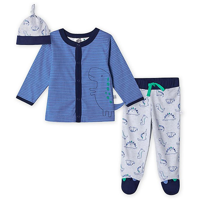 Alternate image 1 for Just Born® 3-Piece Lil' Dino Organic Cotton Take Me Home Set in Blue