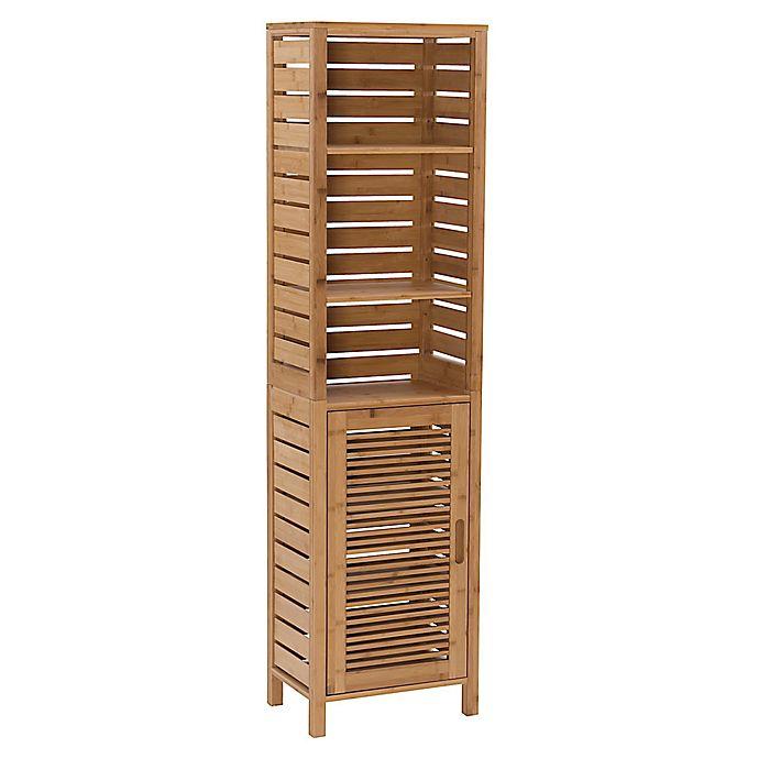 Linon Home Bracken Bamboo Tall Cabinet, Bamboo Bathroom Wall Cabinet