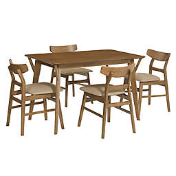 Progressive Furniture Marlow 5-Piece Dining Table and Chair Set in Toffee/Bone