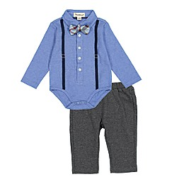 Beetle & Thread® Suspenders Polo Shirtzie, Pant, and Bow Tie Set in Blue
