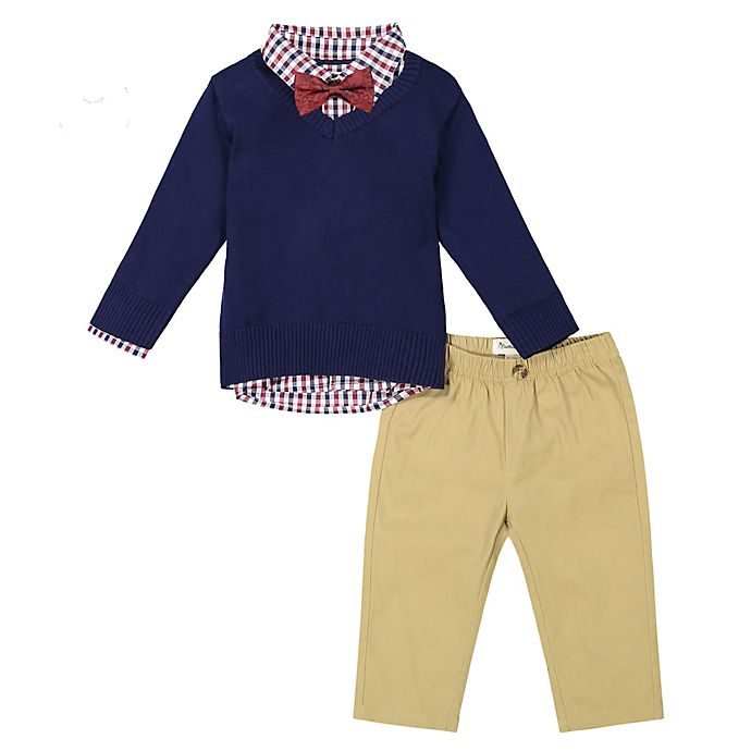 Alternate image 1 for Beetle & Thread® 4-Piece Sweater, Shirt, Pant, and Bow Tie Set