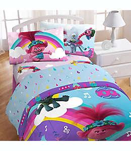 Set de sábanas matrimoniales de poliéster Trolls Poppy Rainbow