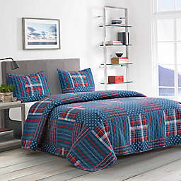 Boston Traders® Adam 3-Piece Reversible King Quilt Set in Blue
