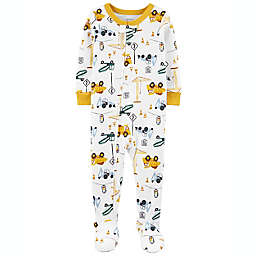 carter's® Size 12M Construction Snug Fit Zip-Front Footed Pajama in White
