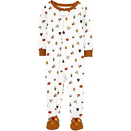 carter's® Thanksgiving Snug Fit Footie Pajama in White/Butter