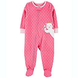carter's® Size 9-12M Bear Fleece Footie Pajama in Pink