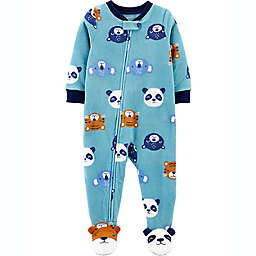 carter's® Animal Faces Fleece Footie Pajama in Blue