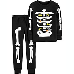 carter's® 2-Piece Skeleton Pajama Set in Black/White