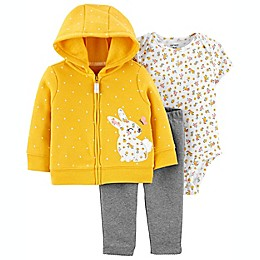 carter's® 3-Piece Bunny Little Jacket, Bodysuit, and Pant Set in Mustard