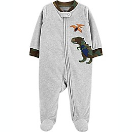 carter's® Camo Dinosaur Sleep and Play Footie in Grey