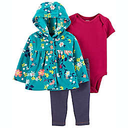 carter's® 3-Piece Floral Little Cardigan, Bodysuit, and Pant Set in Green/Pink