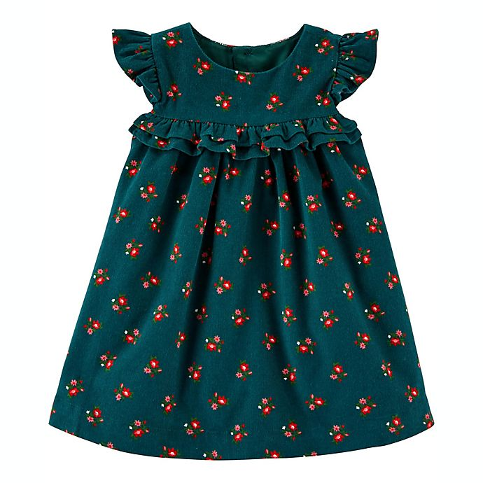 Alternate image 1 for carter's® 2-Piece Floral Corduroy Dress and Diaper Cover Set in Green