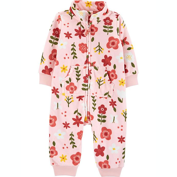 Alternate image 1 for carter's® Floral Fleece Coverall in Pink