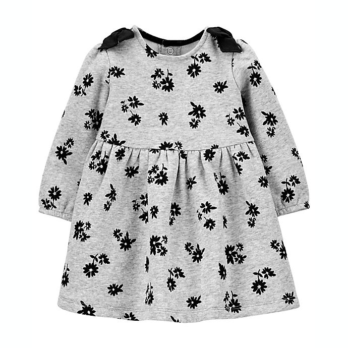 Alternate image 1 for carter's® Floral Cozy Bow Dress in Grey/Black