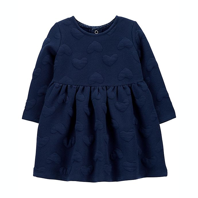 Alternate image 1 for carter's® Hearts Cozy Dress in Navy