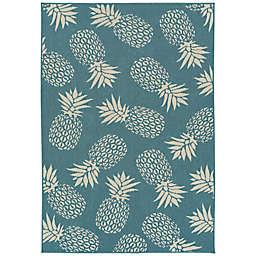 Amalie Pineapple 5' x 7'6 Indoor/Outdoor Area Rug in Light Blue