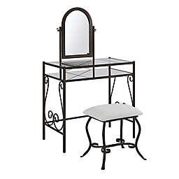 Linon Home Clarisse 2-Piece Vanity Set in Dark Bronze