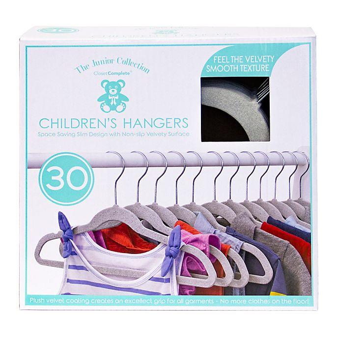 Alternate image 1 for Closet Complete 30-Count Flocked Children's Hangers in Light Grey