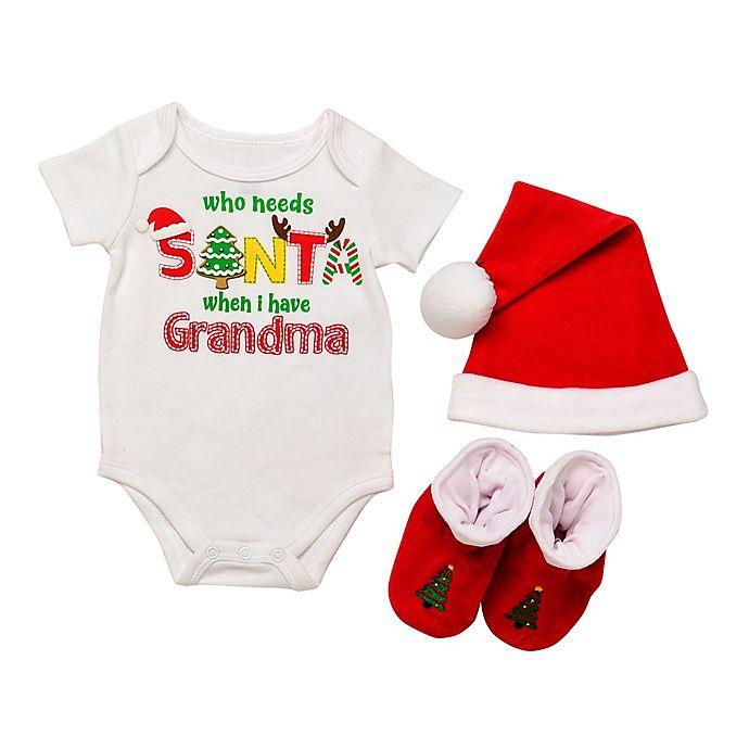 Alternate image 1 for Baby Starter's® 3-Piece Grandma Santa Bodysuit, Hat, and Booties Set
