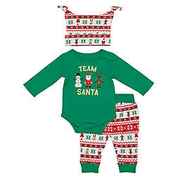 "Baby Starters® Size 0-3M 3-Piece ""Team Santa"" Bodysuit, Pant, and Hat Set in Green"