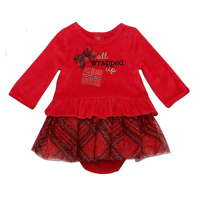Alternate image 1 for Baby Starters® Size 3M 2-Piece Wrapped Up Velour Dress and Panty Set in Red
