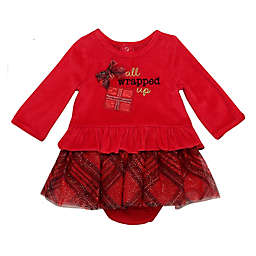 Baby Starters® Newborn 2-Piece Wrapped Up Velour Dress and Panty Set in Red