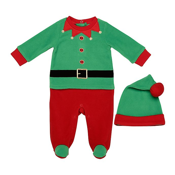 Alternate image 1 for Baby Starters® 2-Piece Elf Footie and Hat Set in Green