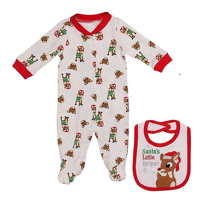 Alternate image 1 for Baby Starters® Size 0-3M 2-Piece Rudolph Footie and Bib Set in White