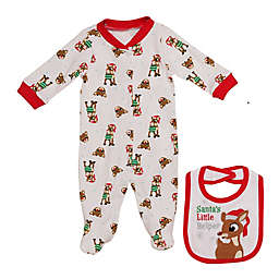 Baby Starters® Newborn 2-Piece Rudolph Footie and Bib Set in White