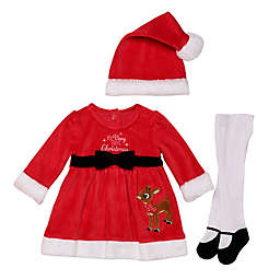 Baby Starters® 3-Piece Rudolph Dress, Tight, and Hat Set in Red