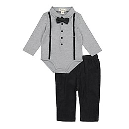 Beetle & Thread® 3-Piece Shirtzie, Pant and Bow Tie Set in Grey