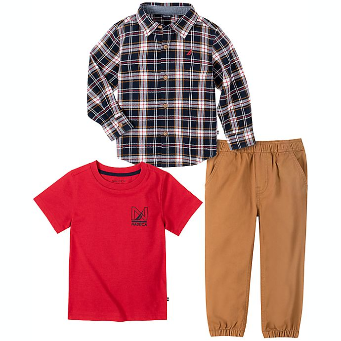 Alternate image 1 for Nautica® 3-Piece Button Down Shirt, T-Shirt and Pant Dress Me Up Set in Plaid