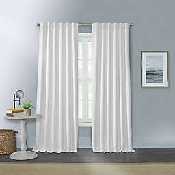 Willow 100% Blackout Rod Pocket/Back Tab Window Curtain Panel in White (Single)