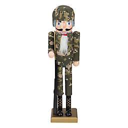 Northlight® 15-Inch Wood Army Fatigues Nutcracker Soldier Statue