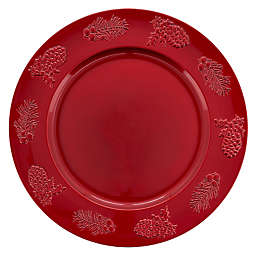 Saro Lifestyle Sousplat Holly Charger Plates in Red (Set of 4)
