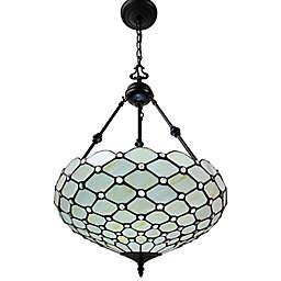 Tiffany Style Jeweled 3-Light Pendant