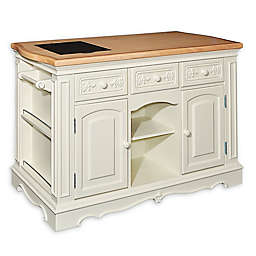 Pennfield Kitchen Island in White/Natural