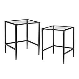 Crosley Ashton 2-Piece Nesting Table Set in Matte Black