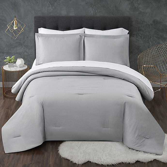 Alternate image 1 for Truly Calm® Antimicrobial Seersucker 5-Piece Reversible Comforter Set