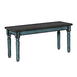 Edie Dining Bench in Teal Blue/Burnished Smoke