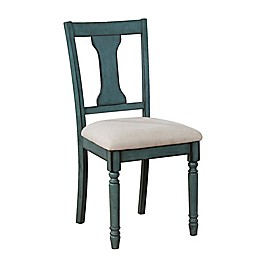Edie Dining Side Chairs in Teal Blue (Set of 2)