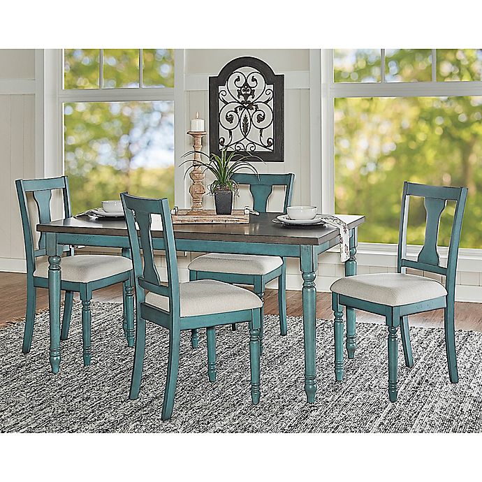 Edie Dining Collection In Teal Blue, Teal Dining Room Chairs