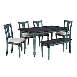 Edie 6-Piece Dining Set in Teal Blue