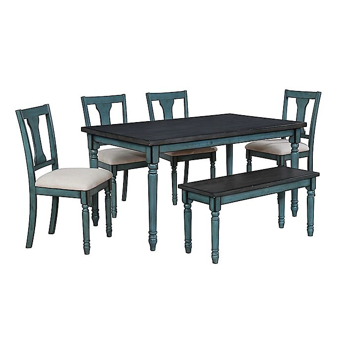 Alternate image 1 for Edie 6-Piece Dining Set in Teal Blue