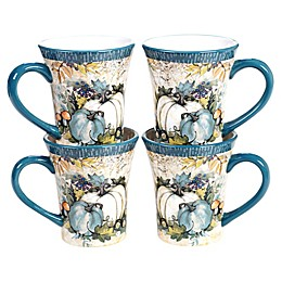 Certified International Harvest Gatherings Ceramic Coffee/Tea Mugs (Set of 4)