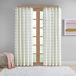 Intelligent Design Callie Pom Pom Rod Pocket/Back Tab Light Filtering Window Curtain Panel